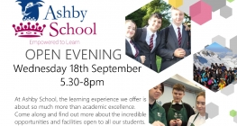 Open Evening is Wednesday 18 September 5.30 - 8pm